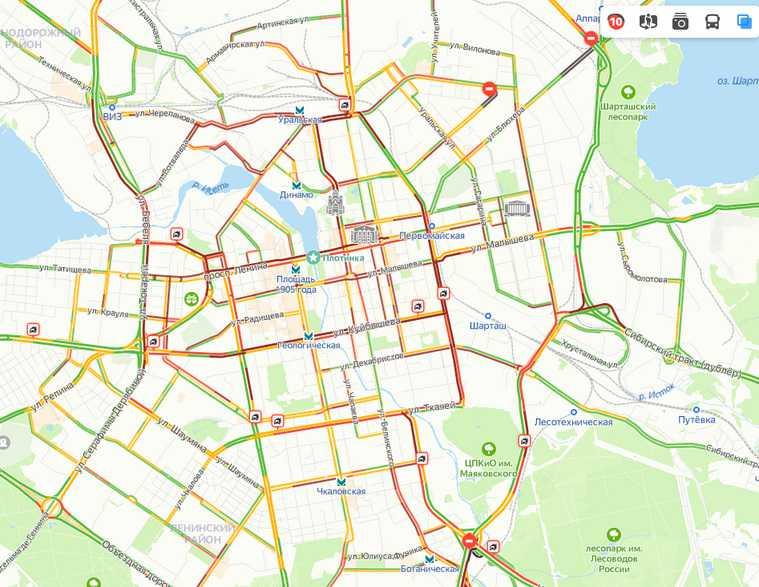 10-балльные пробки заблокировали движение в Екатеринбурге. Скрин